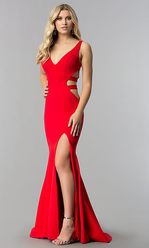 Image of mermaid long prom dress with cut-out sides and train. Style: ZG-31149 Detail Image 2