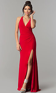 Image of long jersey prom dress with open back by Zoey Grey Style: ZG-31152 Front Image