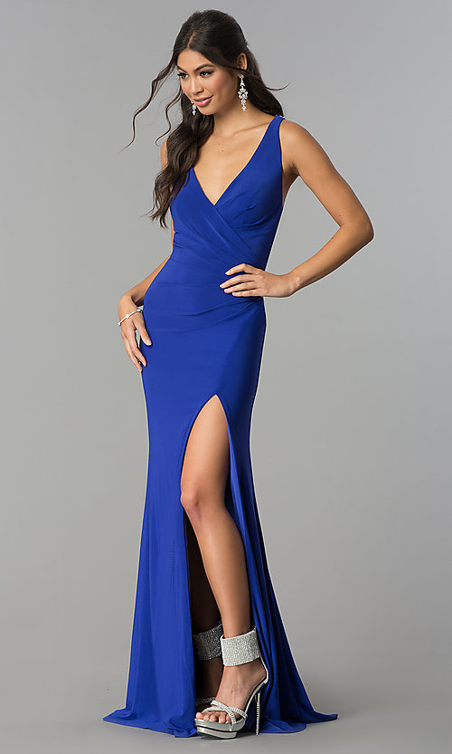 Image of long jersey prom dress with open back by Zoey Grey Style: ZG-31152 Back Image