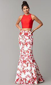 Long Sheer-Back Print Two-Piece Prom Dress