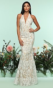 V-Neck Sleeveless Halter Mermaid-Style Prom Dress