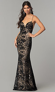 Long Sequin Spaghetti-Strap Prom Dress