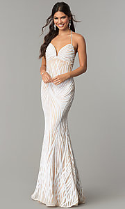 Long Open-Back Empire-Waist Sequin Prom Dress