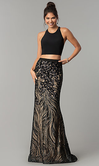 Two-Piece Sequin Prom Dress with a Scoop Neckline