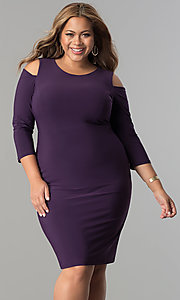 Image of plus-size cold-shoulder 3/4 sleeve party dress. Style: MB-MX1364 Detail Image 3
