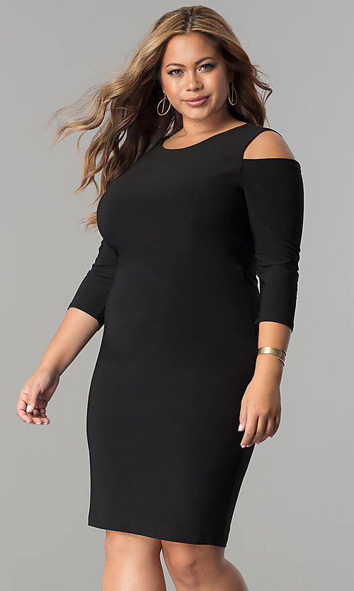 Image of plus-size cold-shoulder 3/4 sleeve party dress. Style: MB-MX1364 Detail Image 1