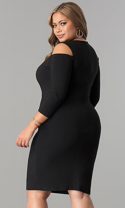 Image of plus-size cold-shoulder 3/4 sleeve party dress. Style: MB-MX1364 Back Image