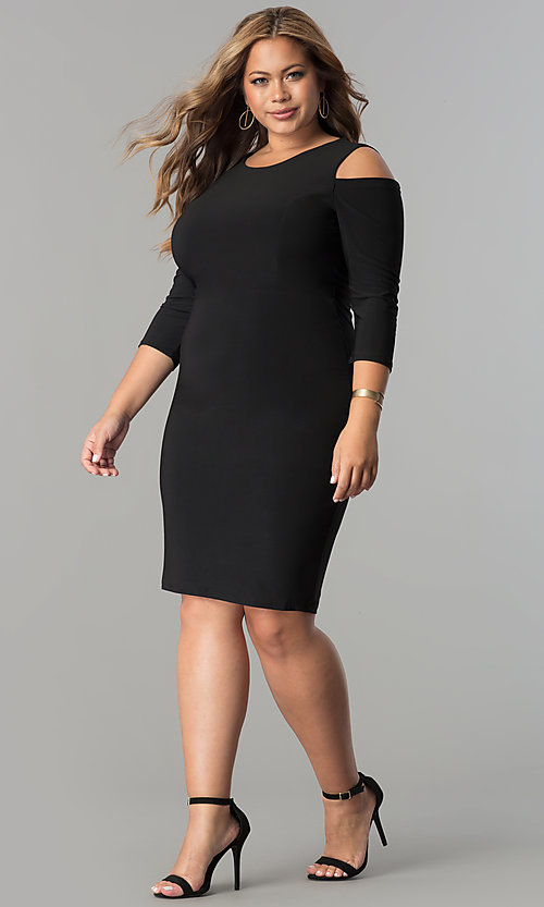 Image of plus-size cold-shoulder 3/4 sleeve party dress. Style: MB-MX1364 Detail Image 2