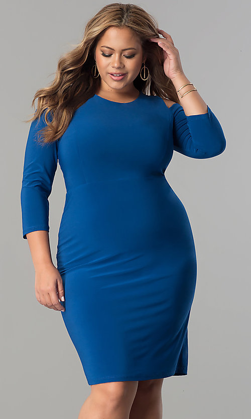 Image of plus-size cold-shoulder 3/4 sleeve party dress. Style: MB-MX1364 Front Image