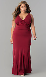 Image of plus-size empire-waist long ruched formal dress. Style: MB-MX1363 Front Image