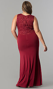 Image of plus-size empire-waist long ruched formal dress. Style: MB-MX1363 Back Image