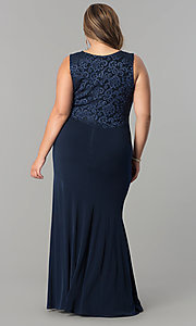 Image of plus-size empire-waist long ruched formal dress. Style: MB-MX1363 Detail Image 3