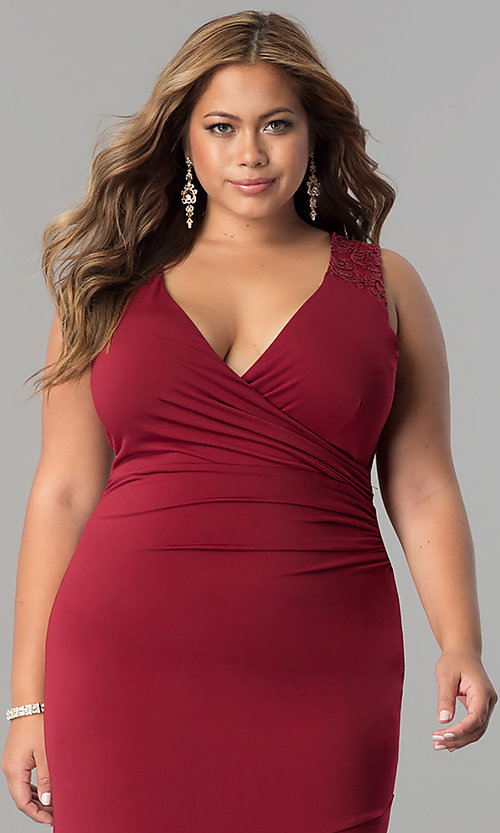 Image of plus-size empire-waist long ruched formal dress. Style: MB-MX1363 Detail Image 1
