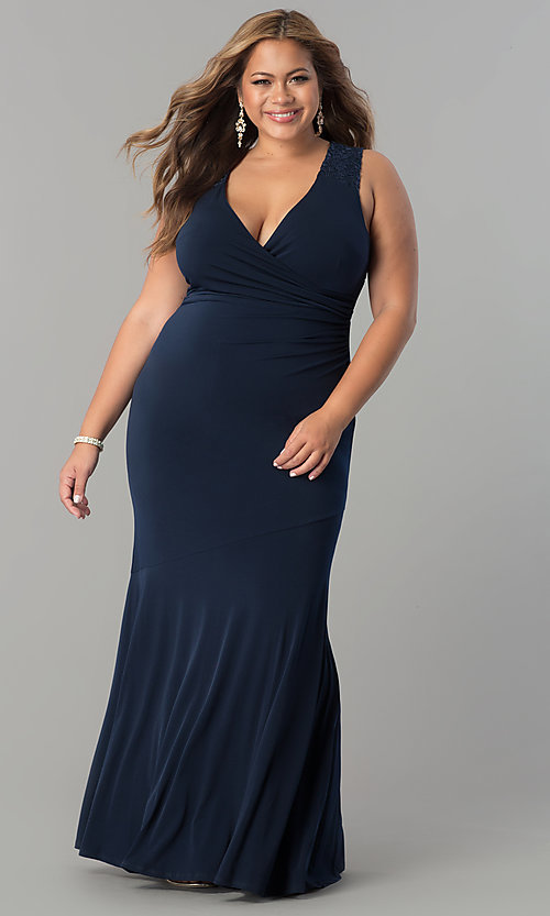 Image of plus-size empire-waist long ruched formal dress. Style: MB-MX1363 Detail Image 2