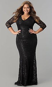 3/4 Sleeve V-Neck Plus-Size Formal Dress