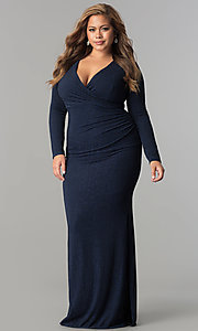 Plus-Size V-Neck Formal Long Sleeve Dress