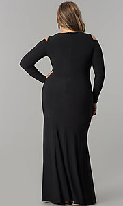 Image of plus-size cold-shoulder long-sleeve formal dress. Style: MB-MX1361 Back Image