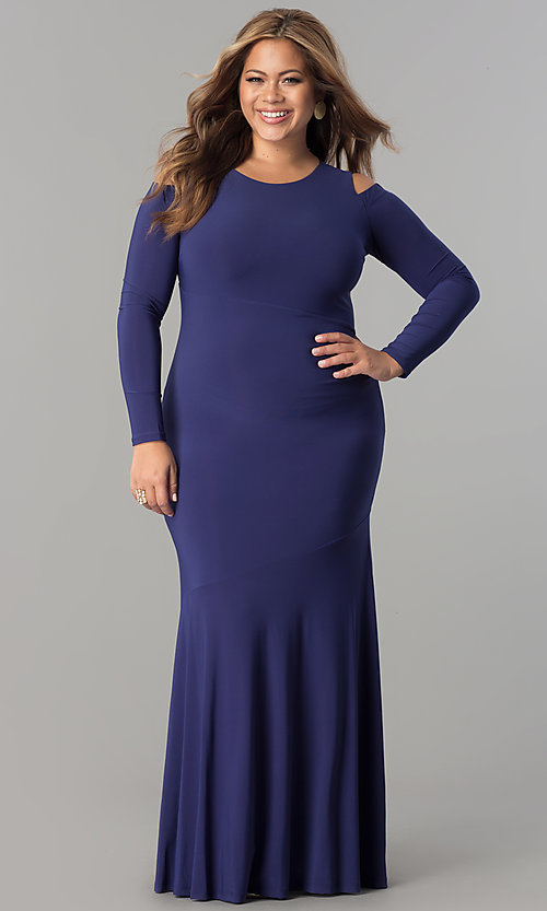 Cold-Shoulder Sleeved Long Plus-Size Dress - PromGirl