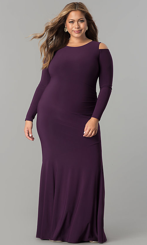 Image of plus-size cold-shoulder long-sleeve formal dress. Style: MB-MX1361 Detail Image 2