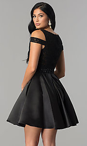 Image of open-shoulder lace-applique-bodice homecoming dress. Style: JT-792 Back Image