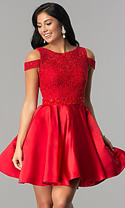 Image of open-shoulder lace-applique-bodice homecoming dress. Style: JT-792 Front Image