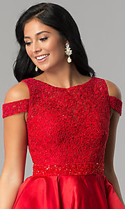 Image of open-shoulder lace-applique-bodice homecoming dress. Style: JT-792 Detail Image 3