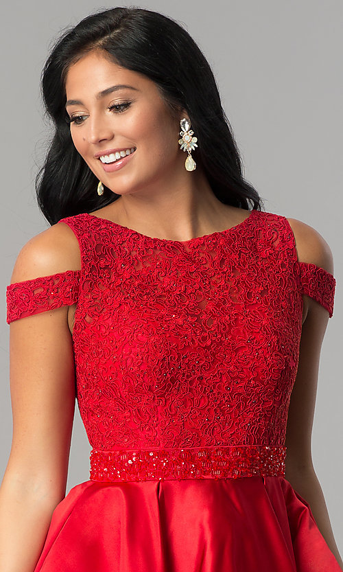 Image of open-shoulder lace-applique-bodice homecoming dress. Style: JT-792 Detail Image 1