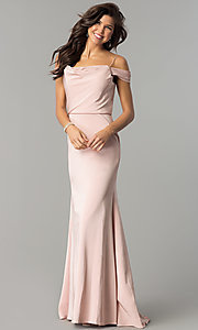 Image of off-shoulder long prom dress with draped neckline. Style: JT-641 Detail Image 1