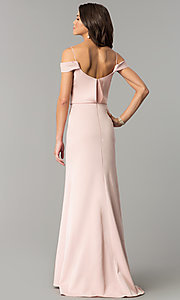 Image of off-shoulder long prom dress with draped neckline. Style: JT-641 Back Image