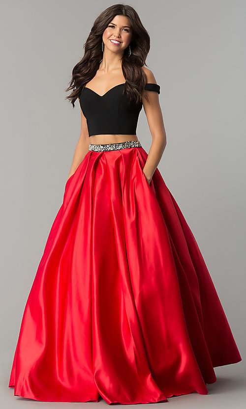 7961f1c27e5 Image of long off-shoulder two-piece red satin prom dress. Style