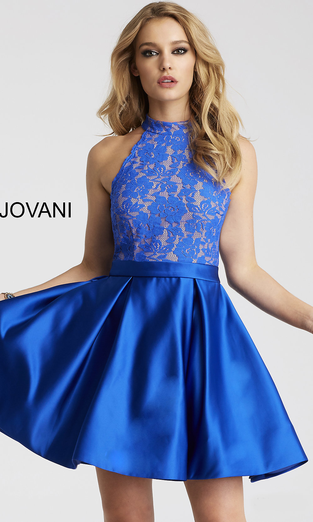 dd1a3237553 Short Homecoming Dress with a Racer Neckline and Back