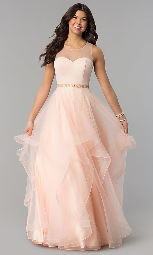 Tiered-Tulle Illusion-Sweetheart Prom Dress - PromGirl