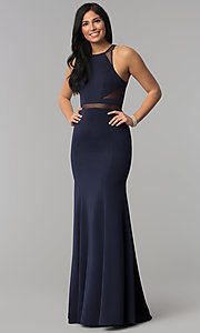 Image of long prom dress with sheer-illusion cut outs. Style: PO-8054 Detail Image 3