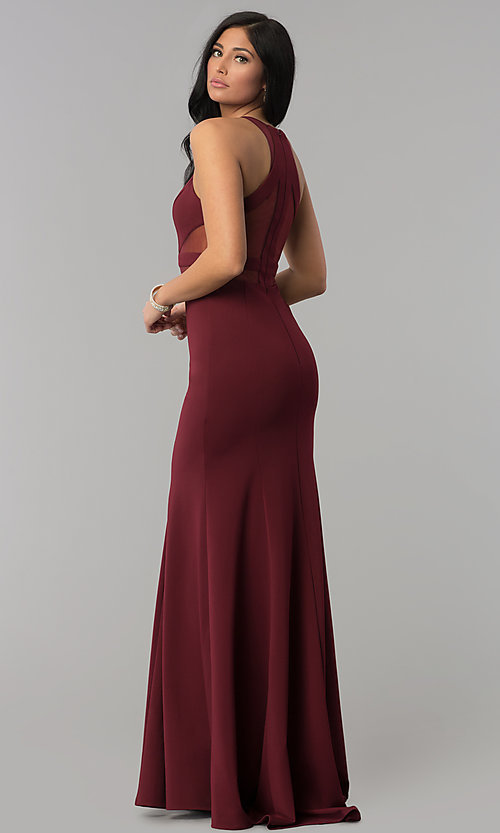 Image of long prom dress with sheer-illusion cut outs. Style: PO-8054 Back Image