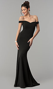 Image of long mermaid off-the-shoulder satin prom dress. Style: PO-8160 Front Image