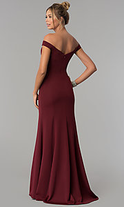 Image of long mermaid off-the-shoulder satin prom dress. Style: PO-8160 Back Image