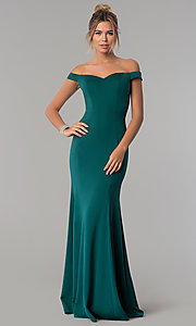 Image of long mermaid off-the-shoulder satin prom dress. Style: PO-8160 Detail Image 1