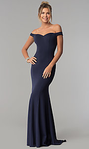 Image of long mermaid off-the-shoulder satin prom dress. Style: PO-8160 Detail Image 2