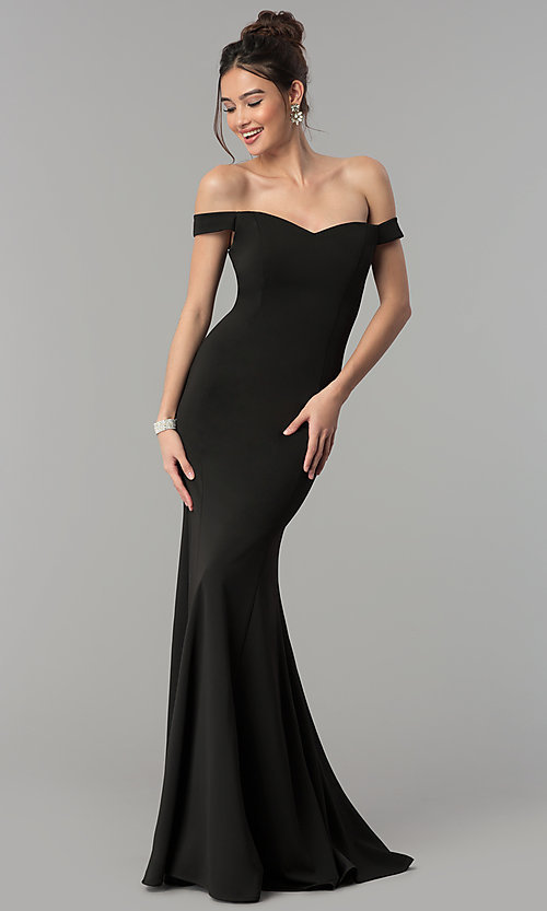 12ebd94e4fc6 Image of long mermaid off-the-shoulder satin prom dress. Style  PO