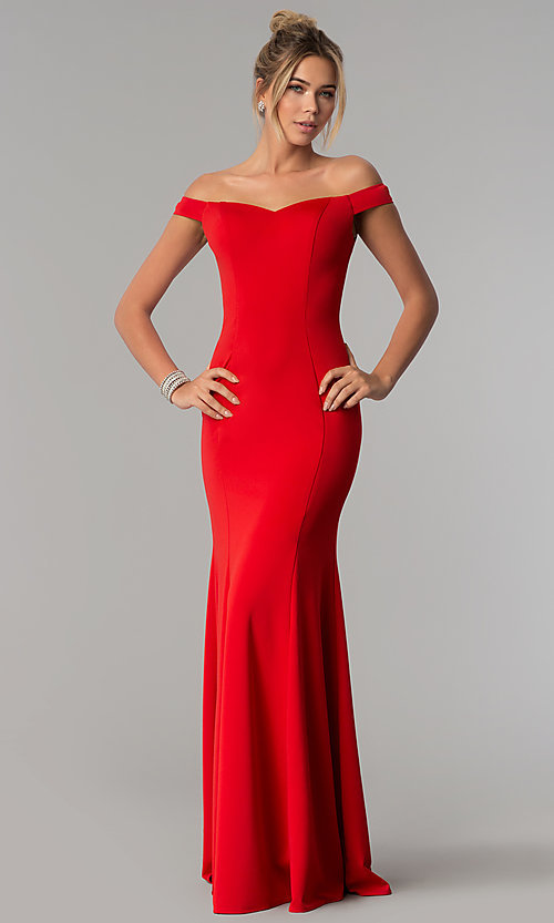 Image of long mermaid off-the-shoulder satin prom dress. Style: PO-8160 Detail Image 3