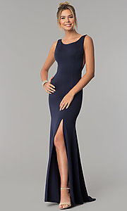 Image of long scoop-neck prom dress with v-back. Style: PO-8168 Detail Image 2