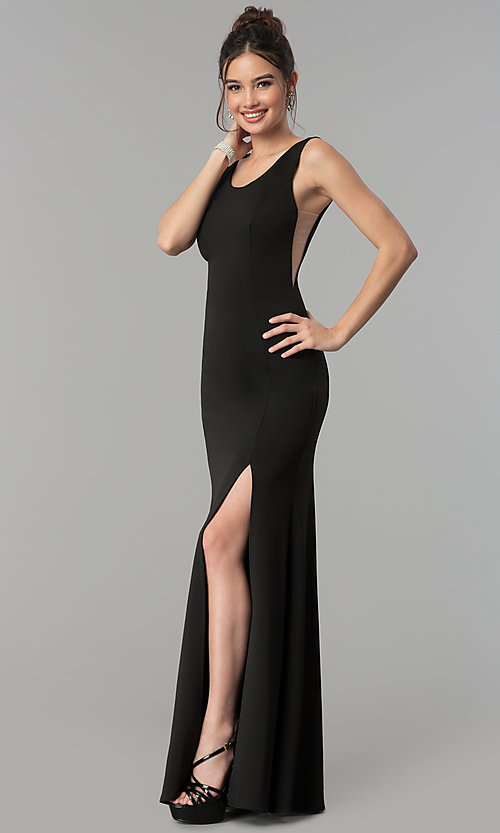 Image of long scoop-neck prom dress with v-back. Style: PO-8168 Front Image