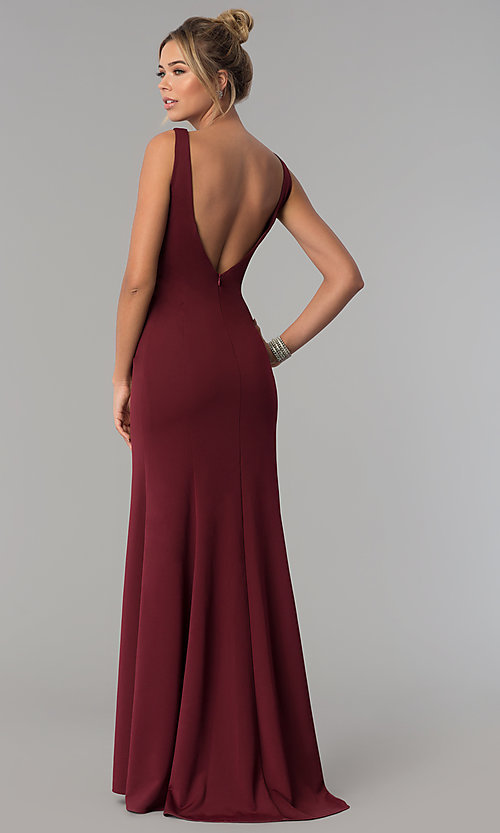 Image of long scoop-neck prom dress with v-back. Style: PO-8168 Back Image