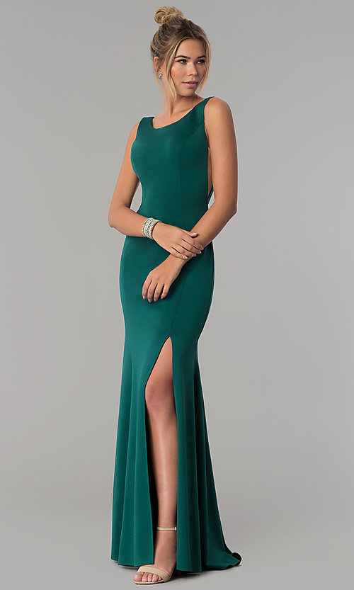 Image of long scoop-neck prom dress with v-back. Style: PO-8168 Detail Image 1