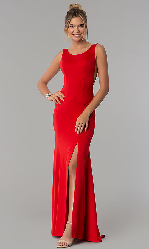 Image of long scoop-neck prom dress with v-back. Style: PO-8168 Detail Image 3
