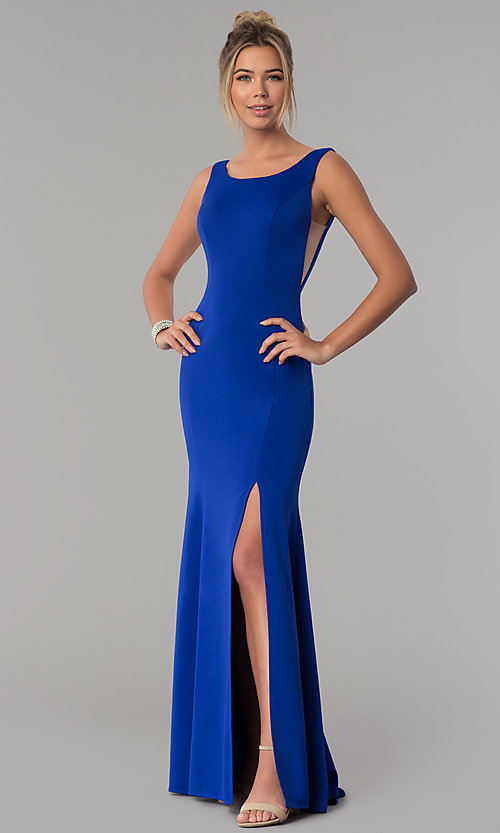 Image of long scoop-neck prom dress with v-back. Style: PO-8168 Detail Image 4