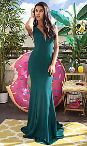 Long Illusion V-Neck Mermaid Prom Dress