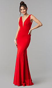 Image of sleeveless v-neck floor-length jersey prom dress. Style: PO-8152 Front Image