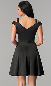 Image of black princess-cut short wedding-guest party dress. Style: PO-8020 Back Image