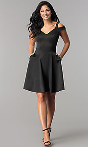 Image of black princess-cut short wedding-guest party dress. Style: PO-8020 Detail Image 2